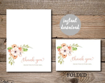 Bridal Shower Thank You Card Instant Download Print Yourself Peach and Coral Anemone
