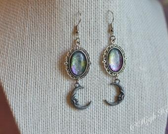 Crystal Crescent Moon Earrings - Galaxy Glass Earrings - Moon Pendants- Pagan Wiccan Jewelry - Moon Drop Earrings - Celestial Jewelry -Lunar