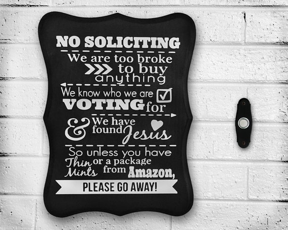 """Handmade """"No Soliciting"""" Sign - Wood - Hand Painted - Outdoor - Home Decor - Gift Idea - Personalized - Solicitation - Front Door - Sealed"""