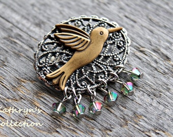 Hummingbird Pin Brooch, Hummingbird Jewelry, Bird Jewelry, Humming Bird