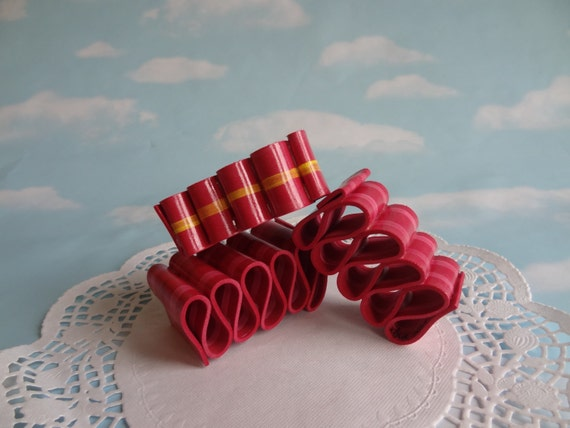 Fake Ribbon Candy Set Faux Realistic Handmade Red Holiday Christmas RB03