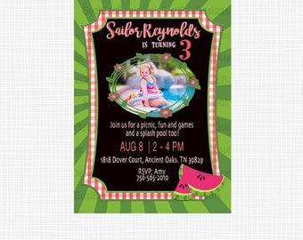 Watermelon Birthday,Watermelon Banner,Watermelon Invitation,Summer,Photo Birthday Party Invitation,Summer Banner,Printable