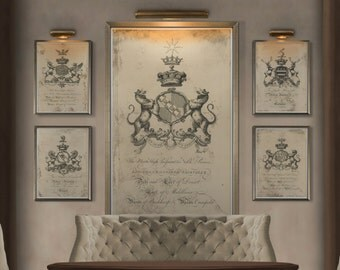 Coat of Arms Print #3 : Family Crest -  18th C. English Armorial Engravings print poster - Heraldy print