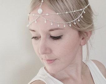 Bridal boho headchain, freshwater pearl hair accessory, bridal headpiece, wedding hair jewelry, boho wedding forehead chain