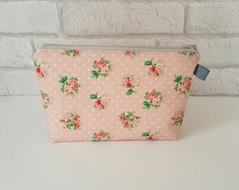 Peach Floral Cosmetic Pouch with Cotton Polka Dot Lining