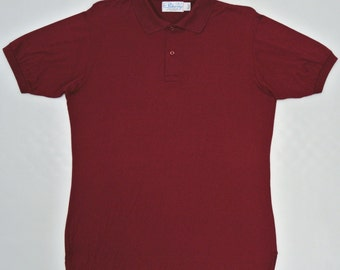 Pickering Shirt Men Large Vintage Pickering Polo T Shirt Maroon Polo T Lisle Cotton Made in USA