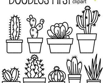 Outline Cactus Digital Clip Art for Scrapbooking Card Making Cupcake Toppers Paper Crafts