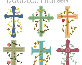 Vines and Crosses Digital Clip Art for Scrapbooking Card Making Cupcake Toppers Paper Crafts