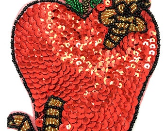 """Sale! 5 Pack Apple and Worm Appliqué, Sequin Beaded, 5"""" x 4.5"""" -B029-1625"""