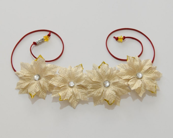 Gold Poinsettia Flower Crown