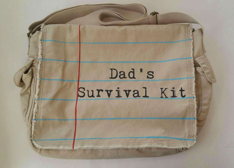 dad 39 s survival kit messenger diaper bag for dad by shopjustwish. Black Bedroom Furniture Sets. Home Design Ideas