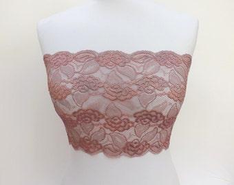 Antique pink lace bandeau top. Floral lace top. Lace lingerie. Antique pink lingerie.