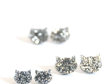 Cat Earrings - Silver Glitter