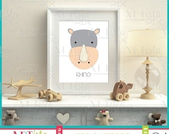 Nursery Wall Art, Zoo Animals Wall Art, Rhino Wall Art, Printable Wall Art, Instant Download, Rhinoceros
