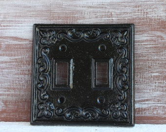 Light Switch Cover, Black Light Switch Plate, Metal Double Switch Plate Cover, Cast Iron Switchplate, Electrical Cover Black wall decor