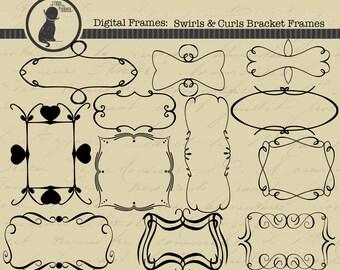 Swirls & Curls Bracket Fames, Digital Bracket Frames, Bracket Frames, Clipart, Clip Art, Digital Clip Art, Fames, Digital Frames