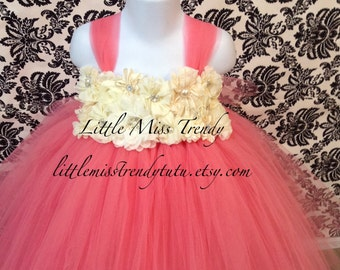 Couture Flower Girl Tutu Dress, Flower Girl Dress Coral, Coral and Ivory Flower Girl Dress, Ivory and Coral Tutu Dress, Couture Tutu Dress