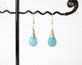 Aqua quarzite earrings, wire wrapped, blue dangle earrings, aqua semi precious gemstone earrings, Gift for her, handmade in the UK