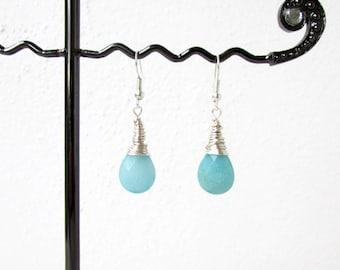 Aqua quarzite earrings, handmade in the UK