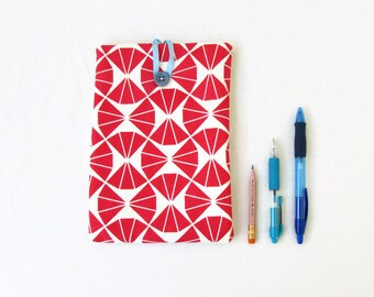 Red Ipad mini case, hand printed fabric, handmade in the UK