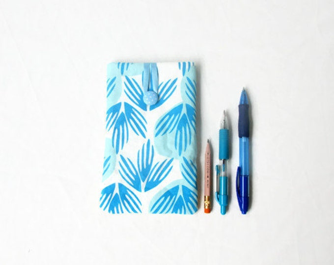 IPhone 7 plus cover, blue hand printed fabric phone cover, handmade in the UK