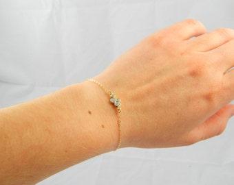 Cz bracelet gold cubic zirconia Crystal bracelet gold bezel cubic zirconia, gold simple bracelet, everyday jewelry, gift bracelet 191