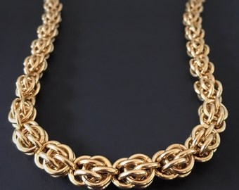 Chainmaille Necklace - nuGold Chain Necklace - Chunky Chainmaille Choker  - Chainmaille Jewelry for Men - Gift for Him - Artisan Jewelry