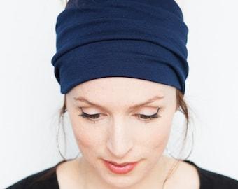 Namaste Navy Headband - Wide Headband Yoga Headband Boho Headband Running Headband Womens Hair Accessories Navy Headwrap Nonslip Headband