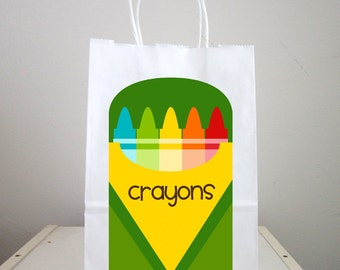 Crayons Goody Bags, Crayons Favor Bags, Crayons Party Bags, Back to School Goody Bags, Back to School Favor Bags, Back to School