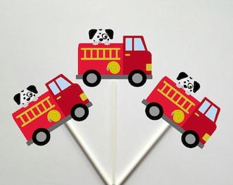Firetruck Cupcake Toppers, Dalmatian Cupcake Toppers