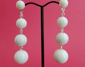 Cascade 1950s style white dangle earrings – clip or pierced