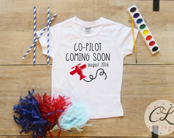 Big Brother Co-Pilot Shirt Date / Baby Boy Clothes Big Brother Plane Shirt Coming Soon Baby Announcement Shirt Toddler Baby Shower Gift 038