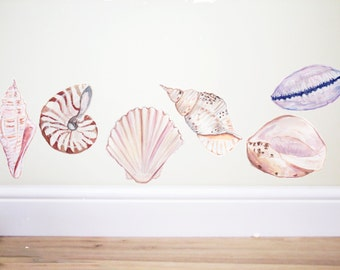 Shell wall decals,Nautical wall decal,Beach decor,sea wall decal,Bathroom decor,Bathroom decal,under the sea,ocean nursery,shell stickers