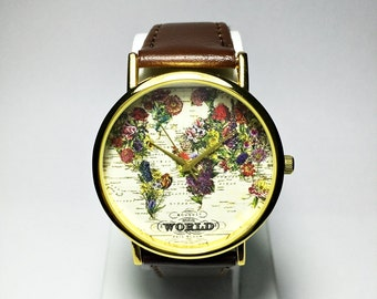 The World in Full Bloom Map Floral Watch, Women Mens Watches, Leather Watch, Vintage Style, Gold Silver Rose, Wrist Watch, Gift, Jewelry