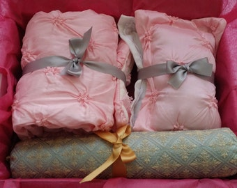 American Girl Doll 4PCS Bedding Set,  Luxurious Elegant Bedding Set, 1 Comforter and 3 Pillows