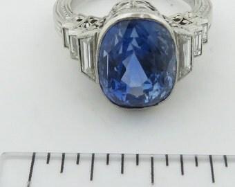 Vintage Platinum Estate Faceted Cushion Medium Light Blue Natural Sapphire ( No Heat ) & Diamond Ring.