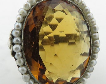 Vintage 14 kt Gold Faceted Citrine & Seed Pearl Ring / 4 3/4