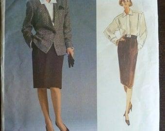 Vintage Sewing Pattern Vogue 1931 Anne Klein - Misses Jacket, Blouse and Skirt  - Size 12 - UNCUT