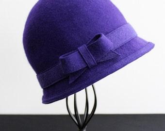 Wool Felt Cloche, Handmade, Royal Purple with Matching Felt Band and Bow