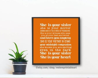 12x12, Gifts for Sister, Big Sister Gift, Sister Quote Poster, Gift Ideas for Sister, Christmas Gift Ideas, Unique Gift, Printable Art