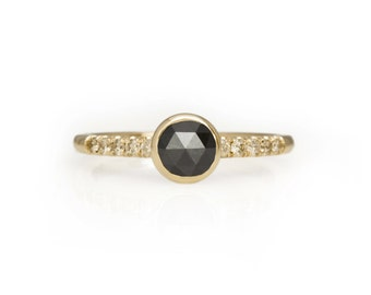 Black Rose Cut Diamond Ring in 14kt Gold with Vintage Diamonds