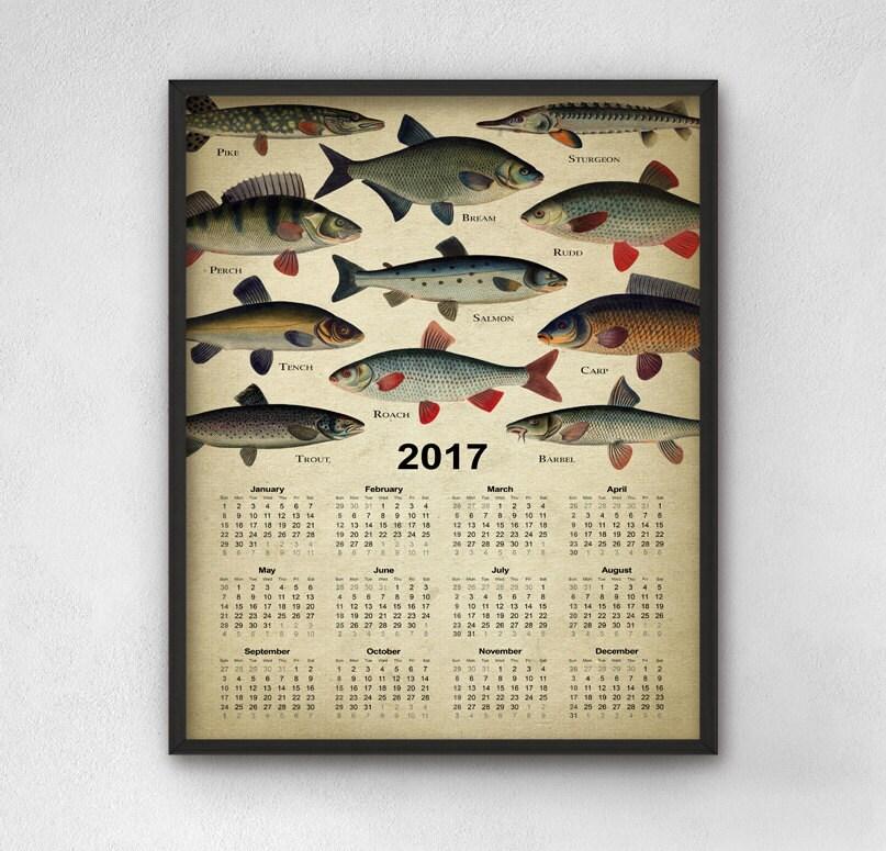 Fishing calendar 2017 angling wall art calendar 2017 for Fishing almanac 2017