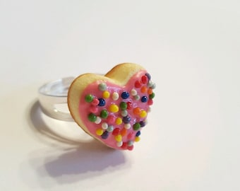 Heart Shaped Sugar Cookie Ring, Polymer Clay Food Jewelry, Valentine's Day