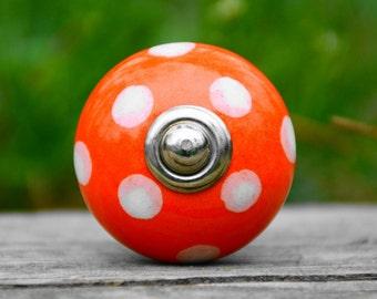 Cabinet knob/ceramic knob/orange knob/polka dot knob/door handle/drawer pul/decorative/unique/furniture hardware/baby nursery/kids/bathroom