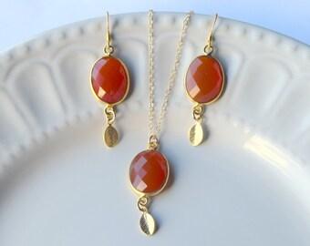 14k Gold Carnelian jewellery, birthstone jewelry, Gift for her, Carnelian jewellery, Gemstone jewelry, Carnelian earring, Carnelian necklace