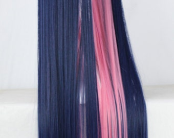 "39"" Long Straight Wig Purple with Pink Highlights Lolita Cosplay Hairpiece For Women"