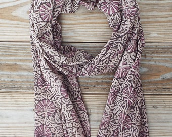 Purple Shell Scarf: Cotton, Fair Trade, Hand Block Printed and Eco Dyes