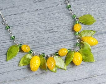 Lemon statement lampwork necklace, fruit necklace, yellow necklace, green necklace, citrus necklace, nature necklace, designer necklace
