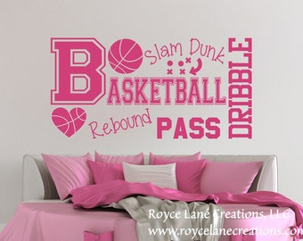 Basketball Word Art Wall Decal B31 Sports Vinyl Wall Decal Basketball Girls Room Teen Girl Room Decor Wall Art Basketball Decor