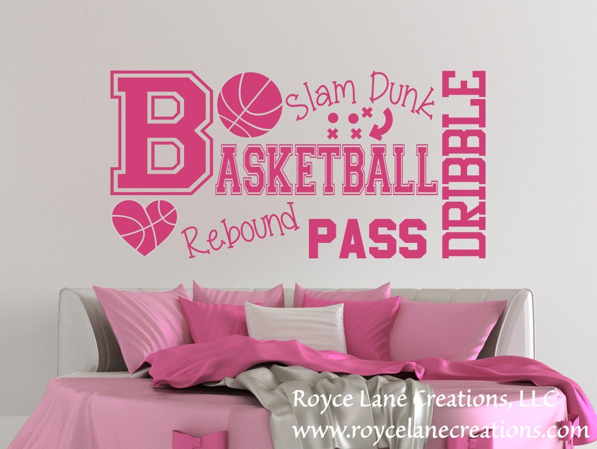 Basketball Word Art Wall Decal B31 Sports Vinyl Wall Decal ... for Wall Stickers For Teenage Girls Bedrooms  195sfw
